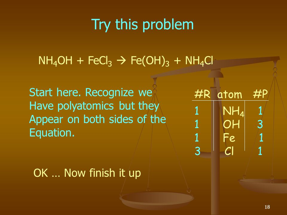 Try this problem NH4OH + FeCl3  Fe(OH)3 + NH4Cl