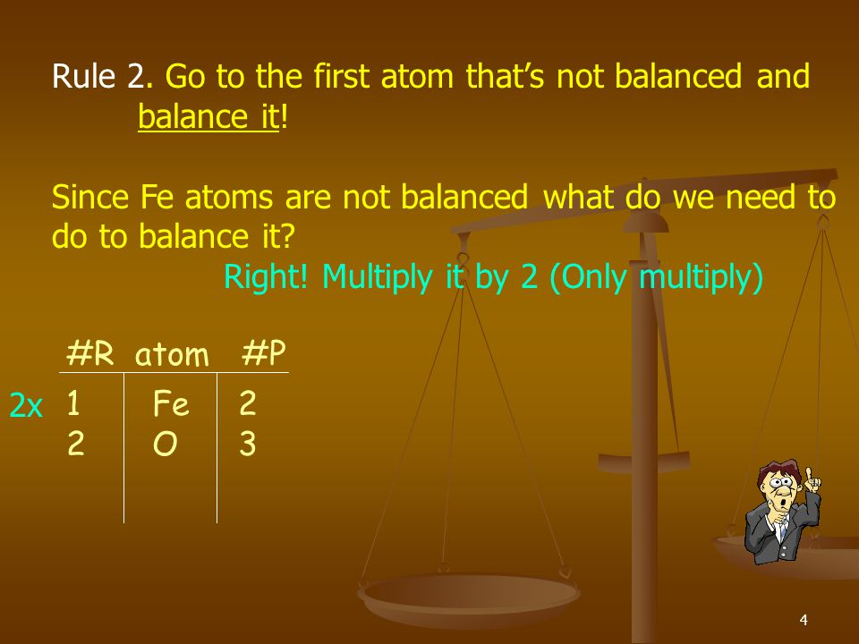Rule 2. Go to the first atom that's not balanced and balance it!