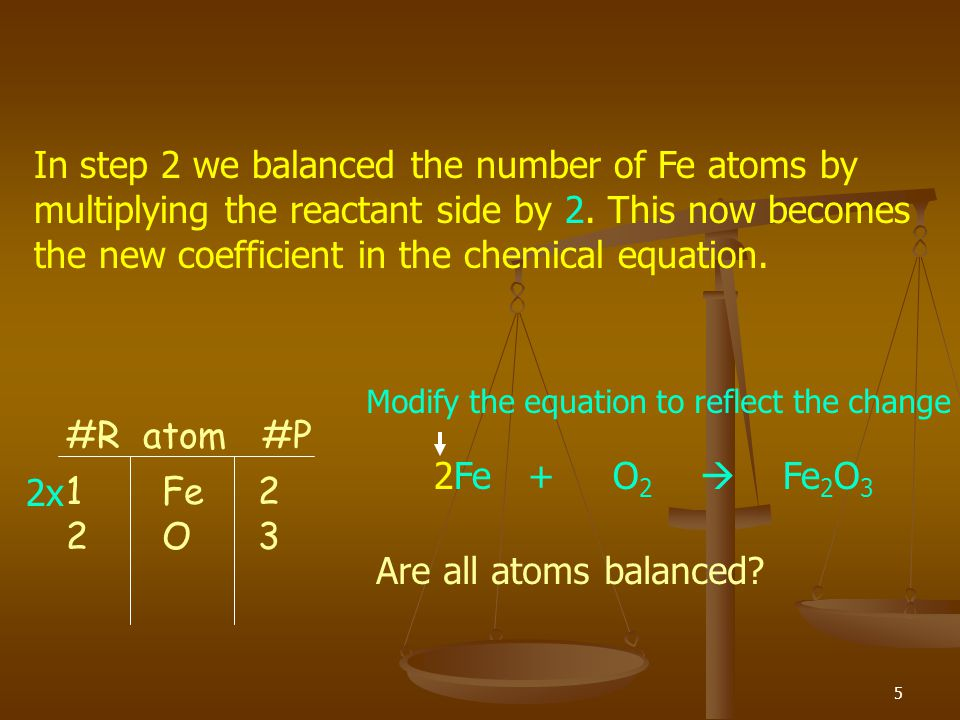 In step 2 we balanced the number of Fe atoms by multiplying the reactant side by 2. This now becomes the new coefficient in the chemical equation.