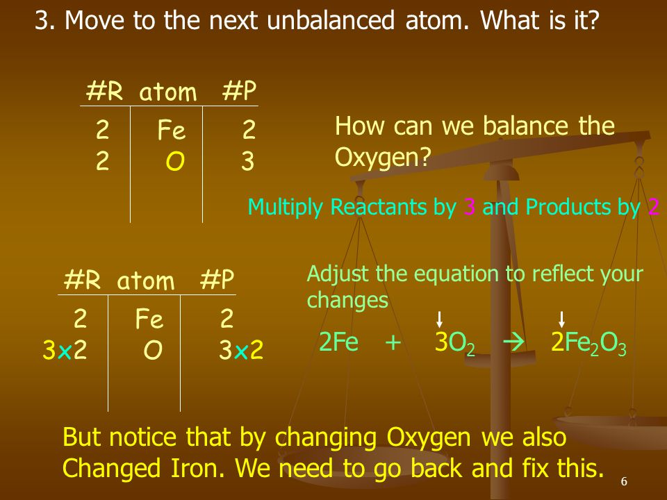 3. Move to the next unbalanced atom. What is it