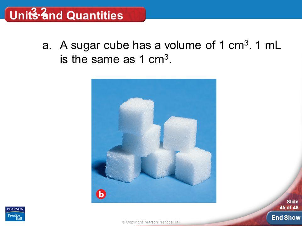 A sugar cube has a volume of 1 cm3. 1 mL is the same as 1 cm3.