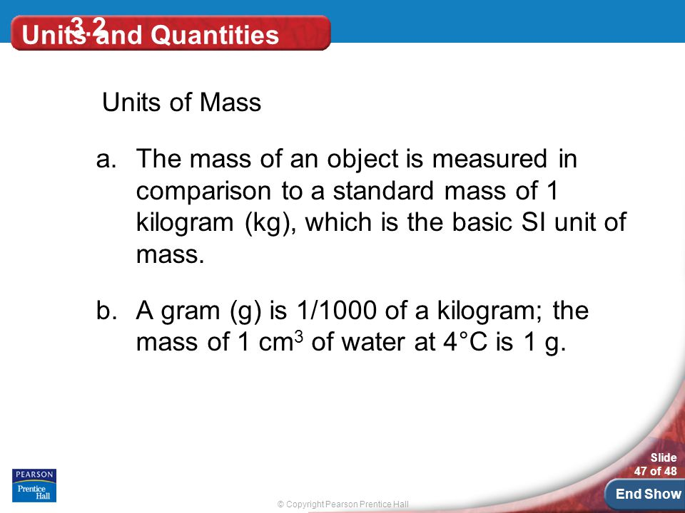 3.2 Units and Quantities. Units of Mass.