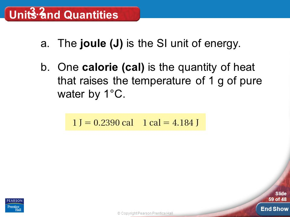 3.2 Units and Quantities. The joule (J) is the SI unit of energy.