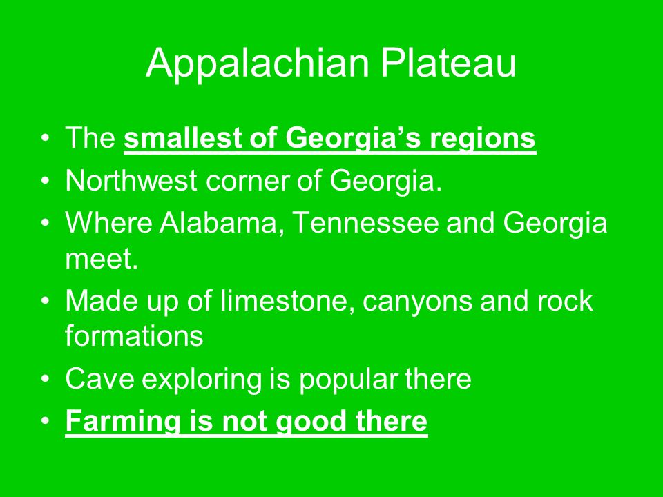 Appalachian Plateau The smallest of Georgia's regions