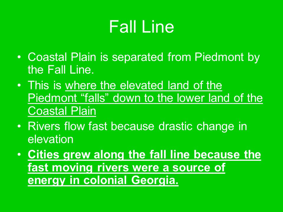 Fall Line Coastal Plain is separated from Piedmont by the Fall Line.