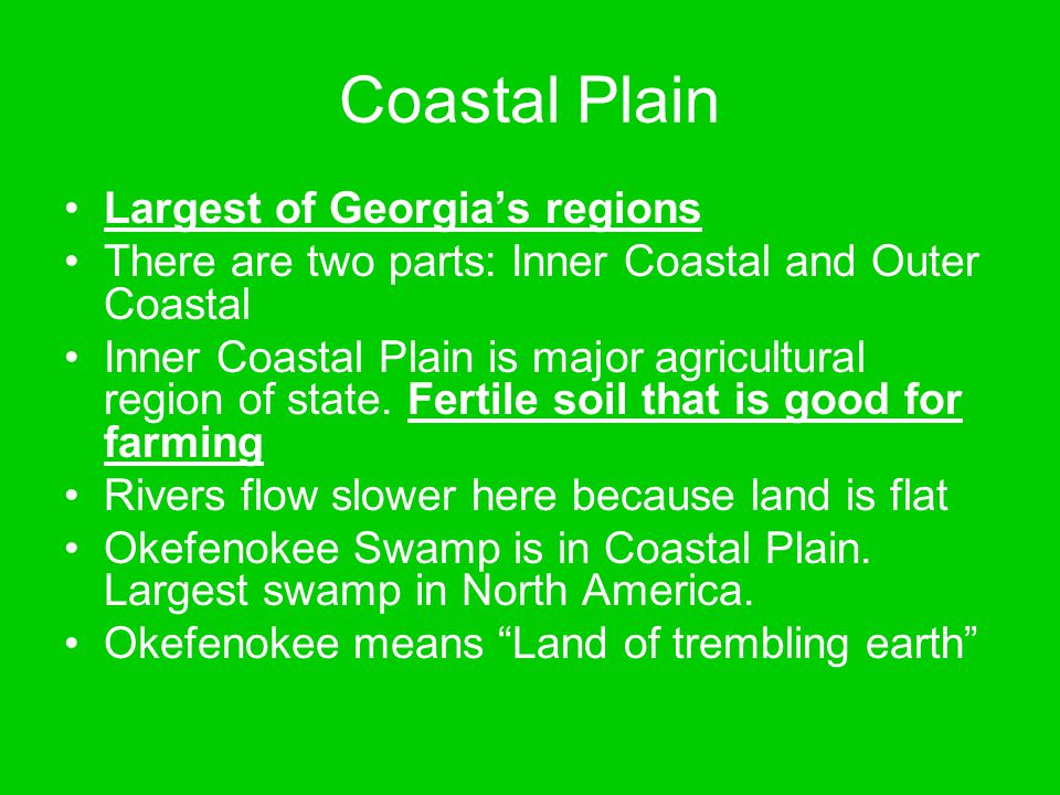 Coastal Plain Largest of Georgia's regions