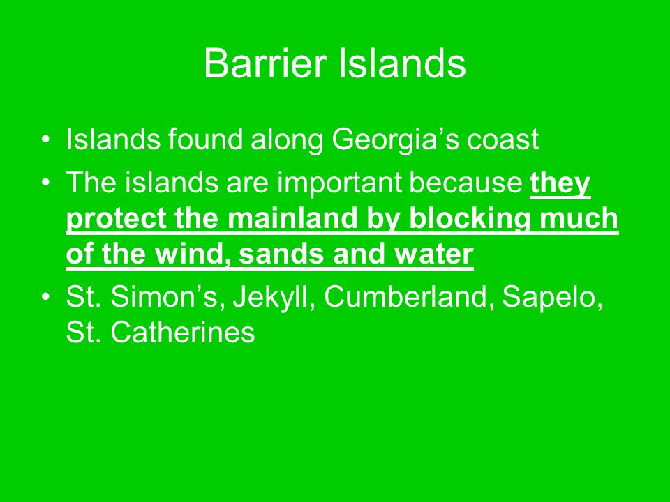 Barrier Islands Islands found along Georgia's coast