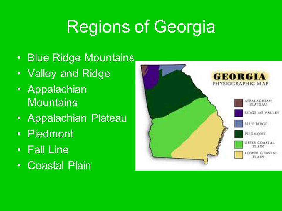 Regions of Georgia Blue Ridge Mountains Valley and Ridge