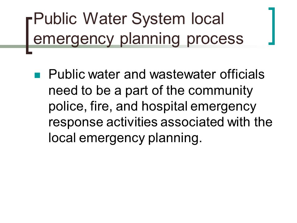 Public Water System local emergency planning process
