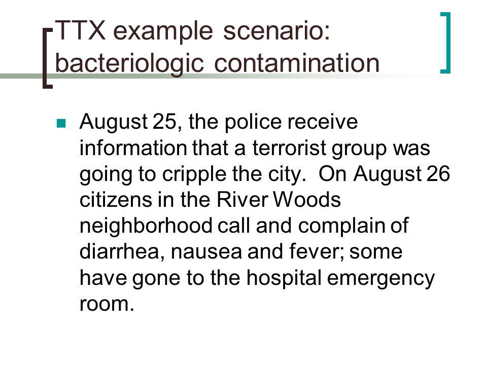 TTX example scenario: bacteriologic contamination