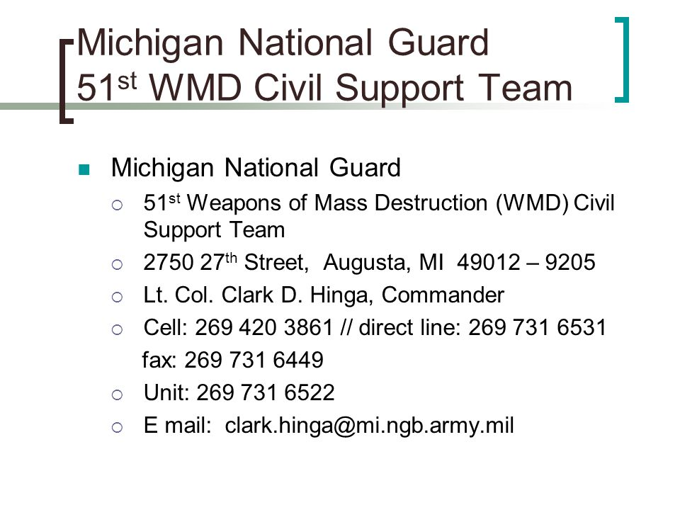 Michigan National Guard 51st WMD Civil Support Team