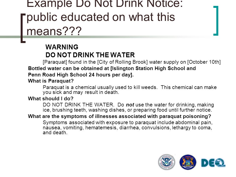 Example Do Not Drink Notice: public educated on what this means