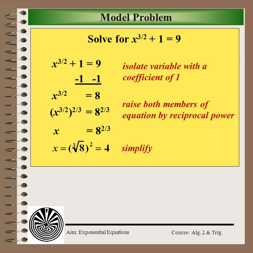 Model Problem Solve for x3/2 + 1 = 9 x3/2 + 1 = 9 -1 -1 x3/2 = 8