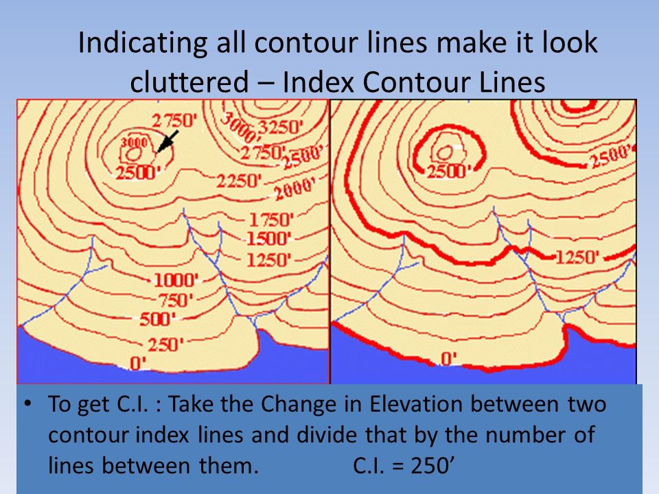 Indicating all contour lines make it look cluttered – Index Contour Lines