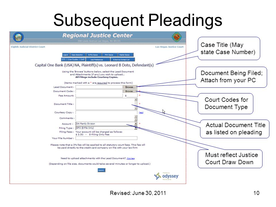 Subsequent Pleadings Case Title (May state Case Number)