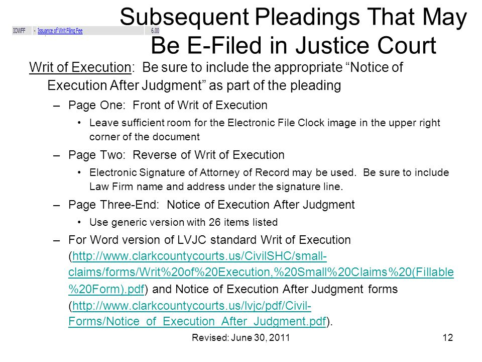 Subsequent Pleadings That May Be E-Filed in Justice Court