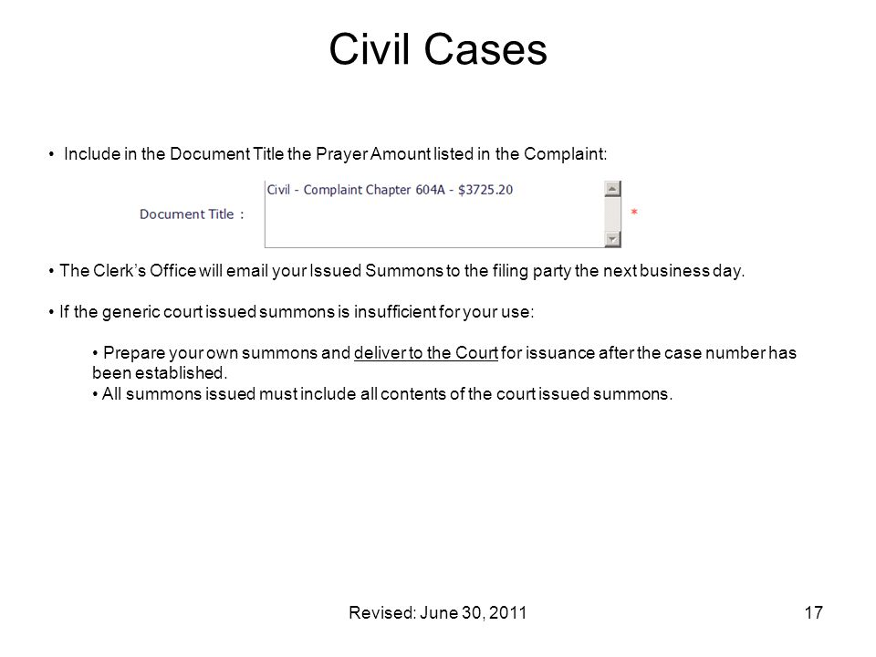 Civil Cases Include in the Document Title the Prayer Amount listed in the Complaint: