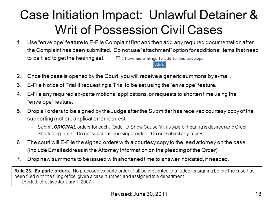 Case Initiation Impact: Unlawful Detainer & Writ of Possession Civil Cases