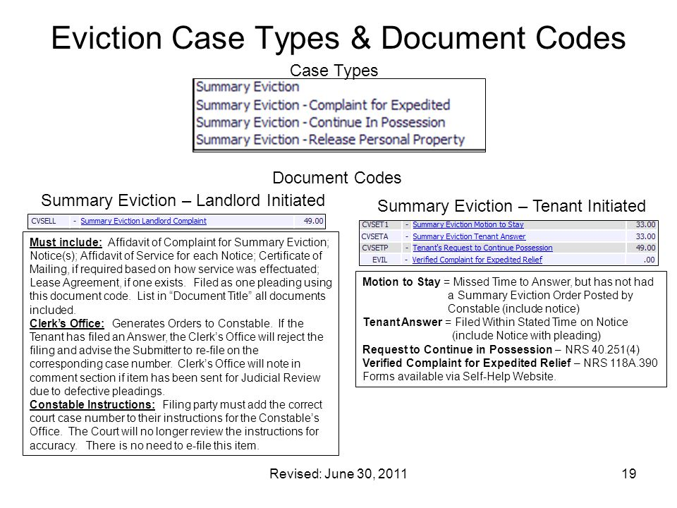 Eviction Case Types & Document Codes