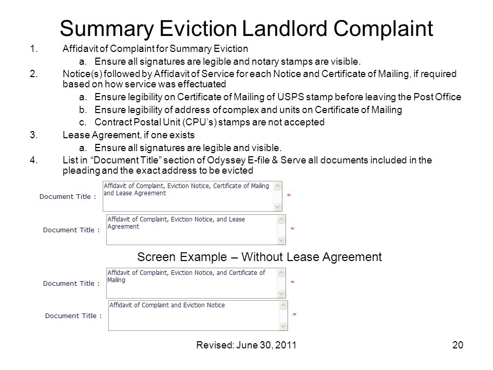 Summary Eviction Landlord Complaint