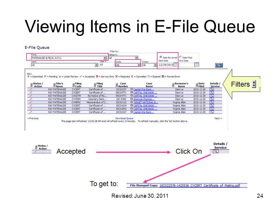 Viewing Items in E-File Queue