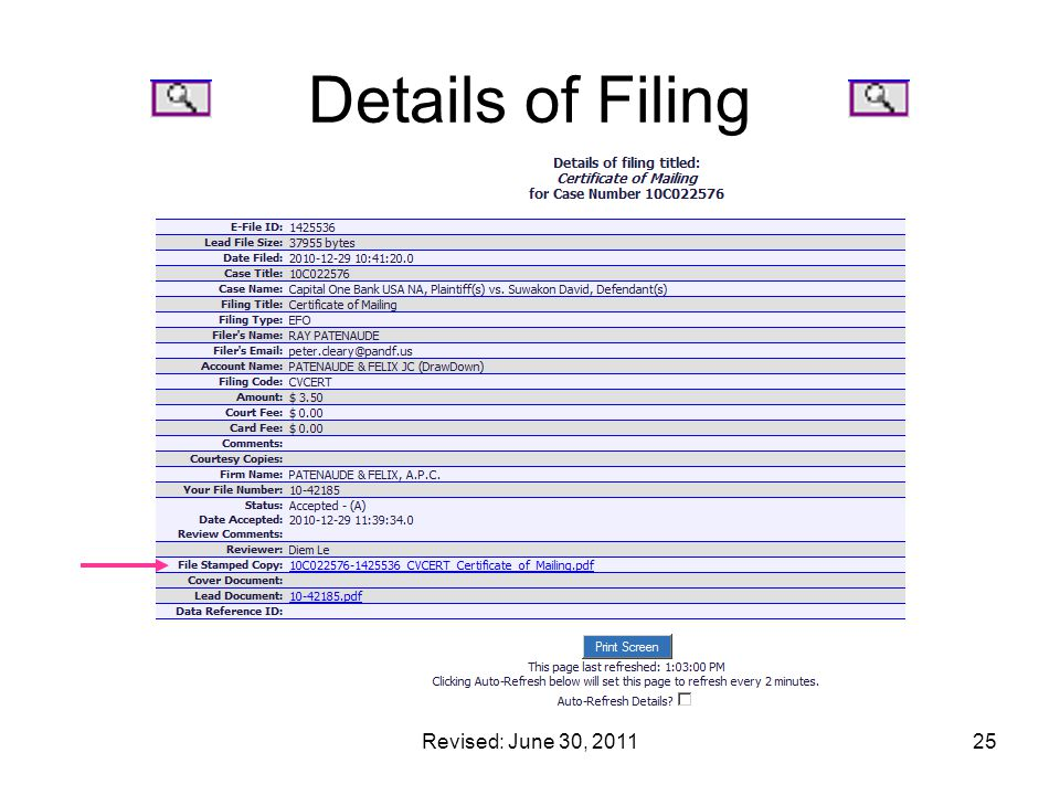 Details of Filing Revised: June 30, 2011