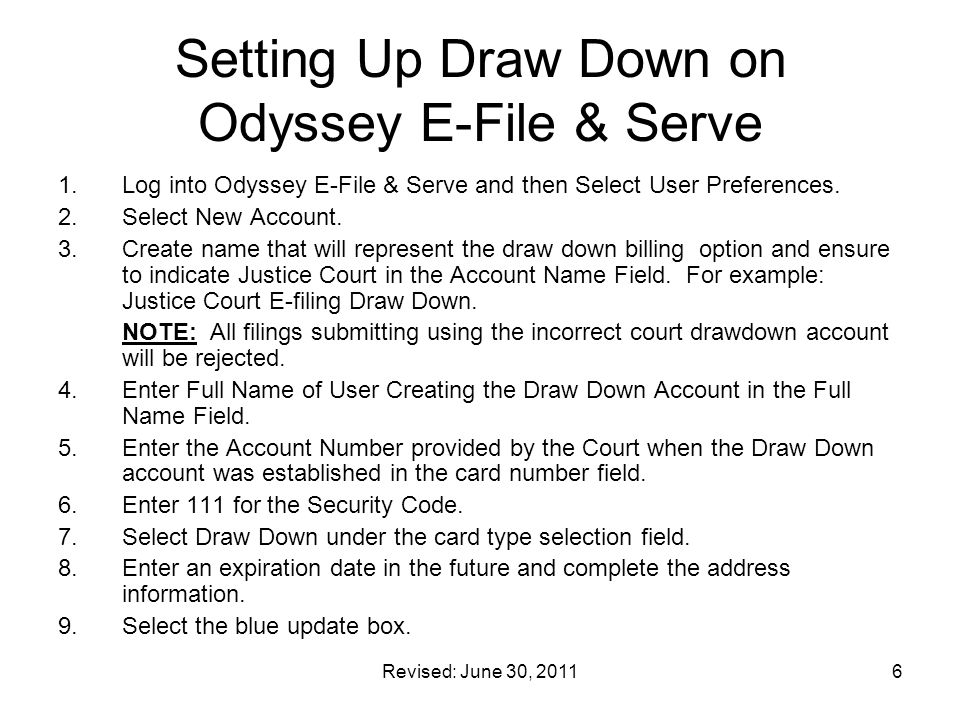 Setting Up Draw Down on Odyssey E-File & Serve