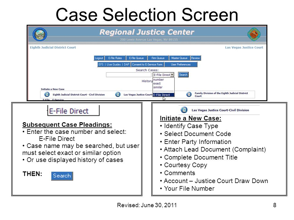 Case Selection Screen Initiate a New Case: Identify Case Type
