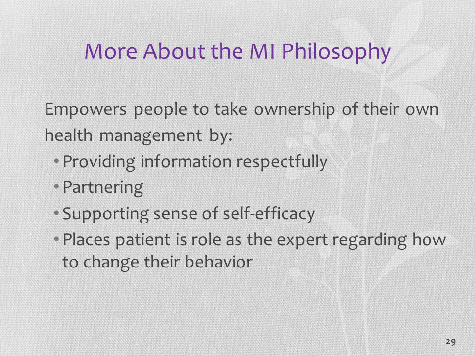More About the MI Philosophy