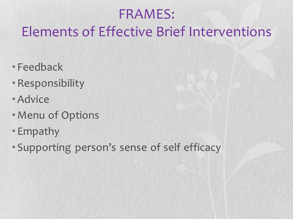 FRAMES: Elements of Effective Brief Interventions