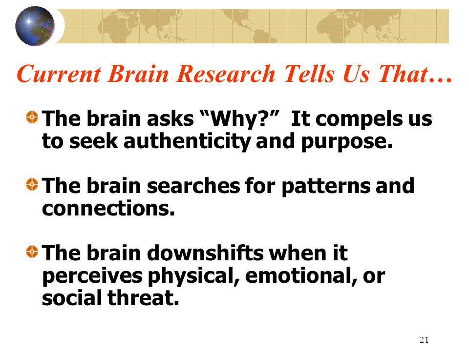 Current Brain Research Tells Us That…