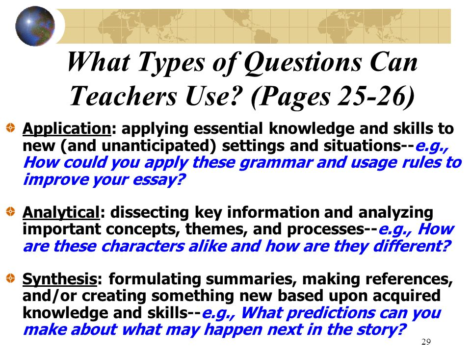 What Types of Questions Can Teachers Use (Pages 25-26)