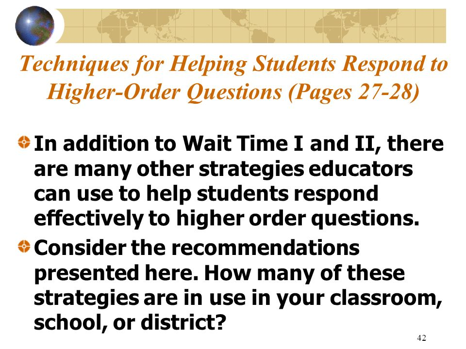 Techniques for Helping Students Respond to Higher-Order Questions (Pages 27-28)