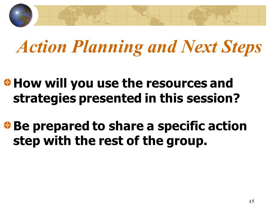 Action Planning and Next Steps
