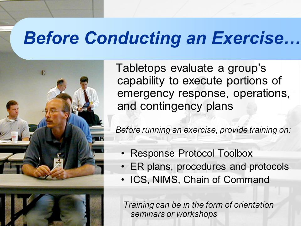 Before Conducting an Exercise…