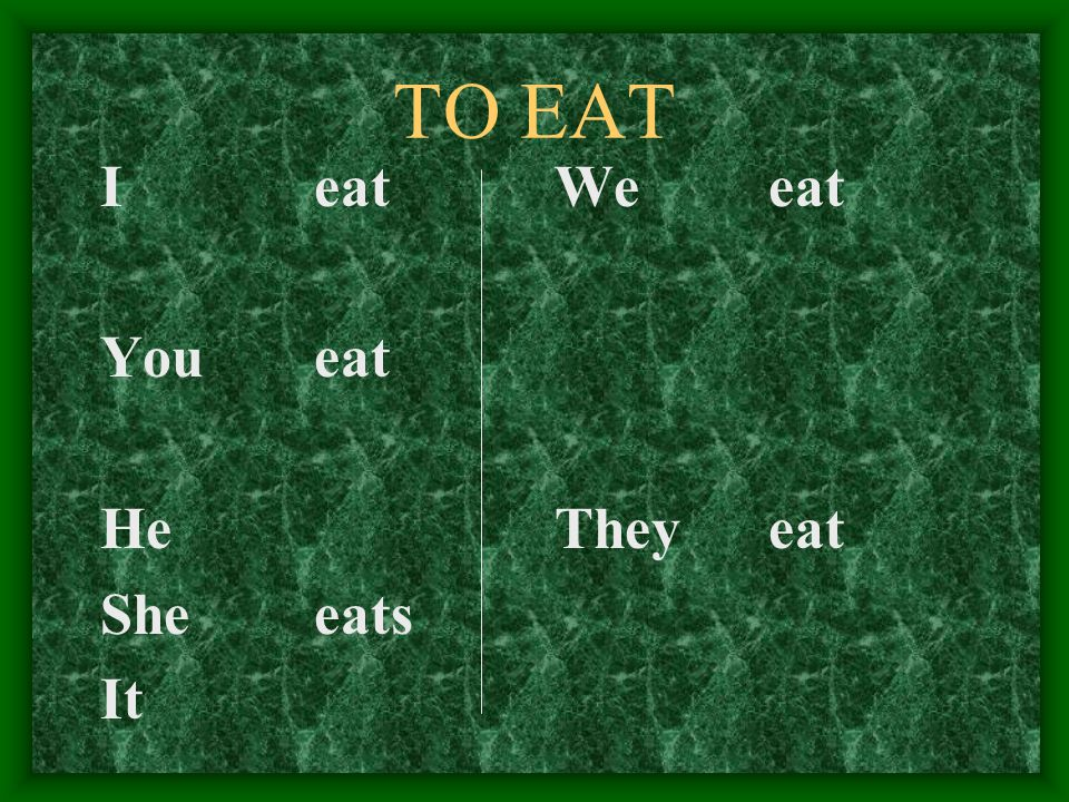 TO EAT I eat You eat He She eats It We eat They eat