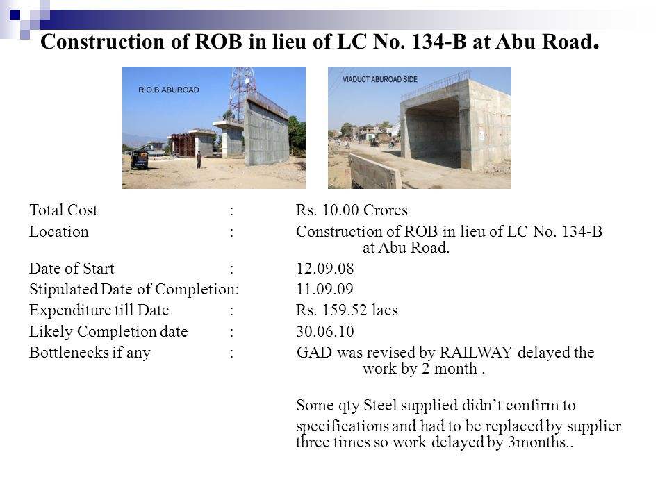 Construction of ROB in lieu of LC No. 134-B at Abu Road.