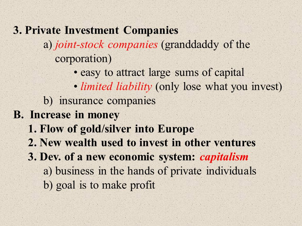 3. Private Investment Companies