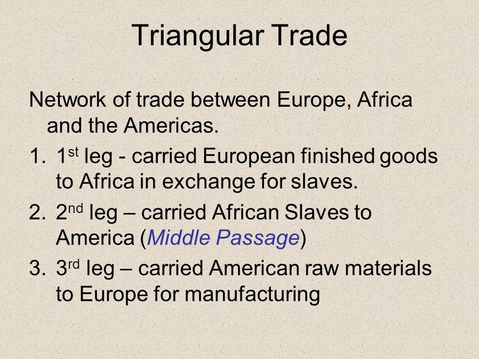 Triangular Trade Network of trade between Europe, Africa and the Americas.