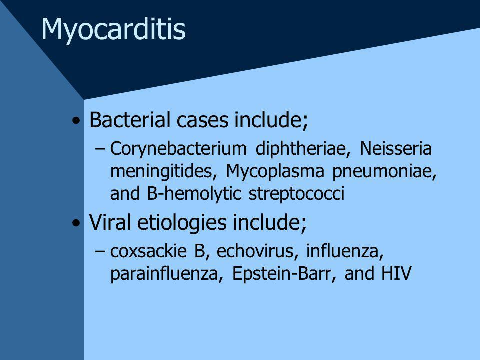 Myocarditis Bacterial cases include; Viral etiologies include;