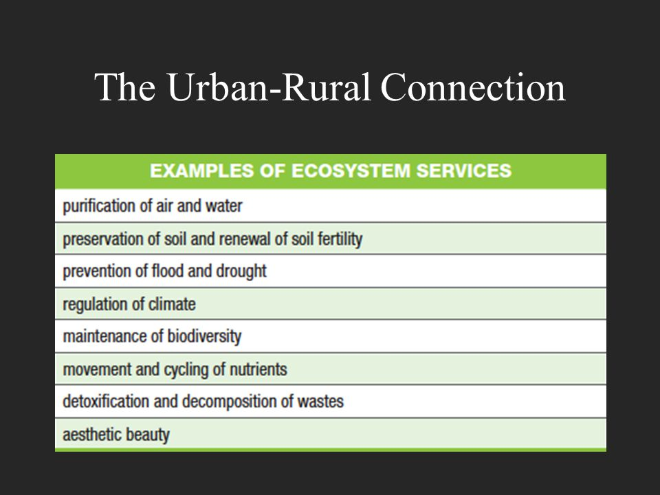 The Urban-Rural Connection