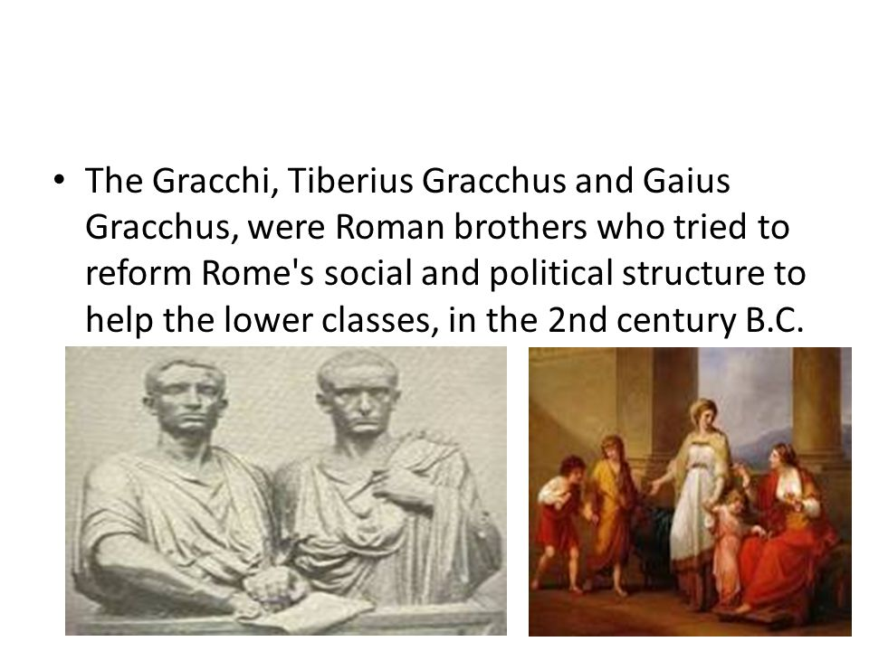 The Gracchi, Tiberius Gracchus and Gaius Gracchus, were Roman brothers who tried to reform Rome s social and political structure to help the lower classes, in the 2nd century B.C.