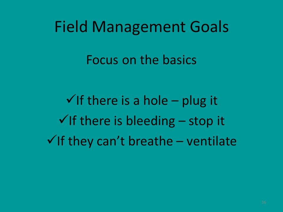 Field Management Goals