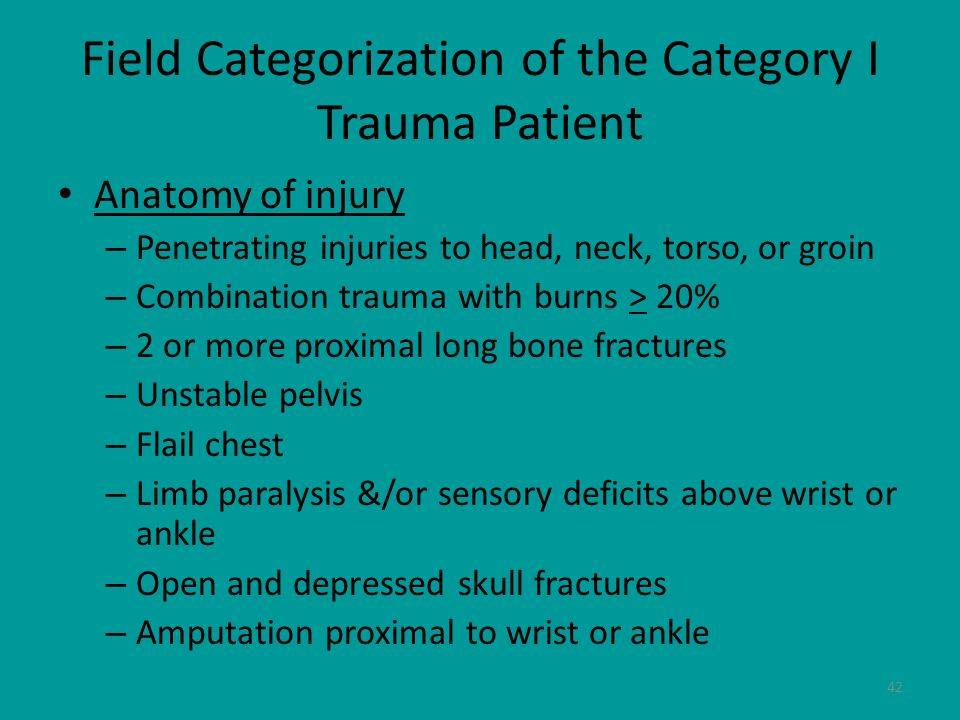 Field Categorization of the Category I Trauma Patient