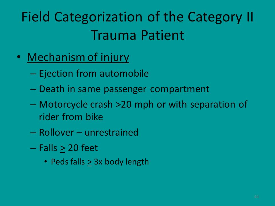 Field Categorization of the Category II Trauma Patient