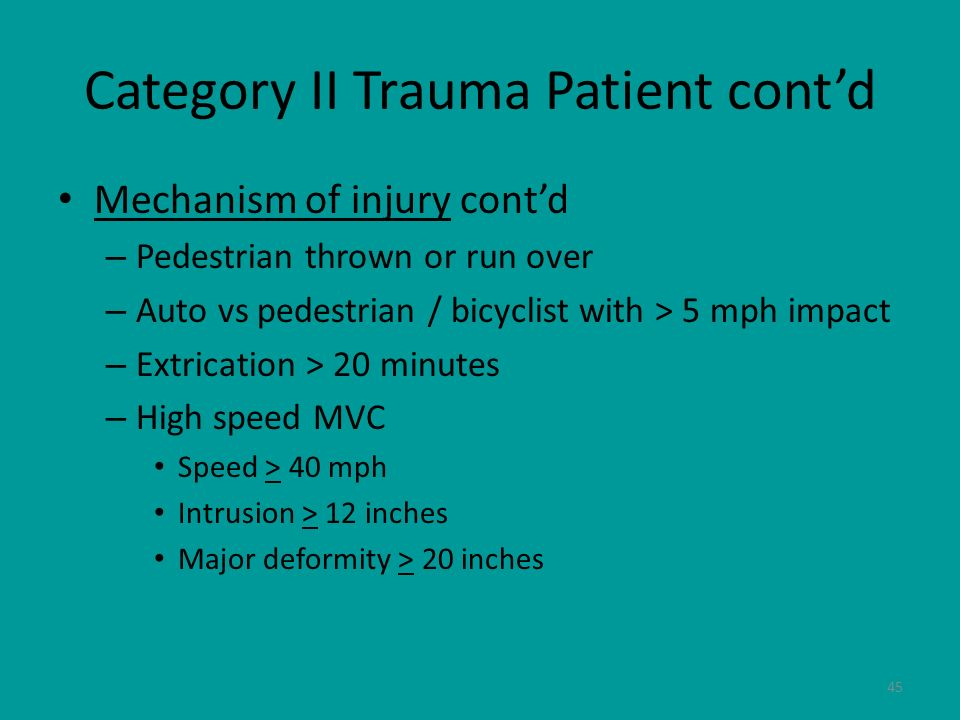 Category II Trauma Patient cont'd