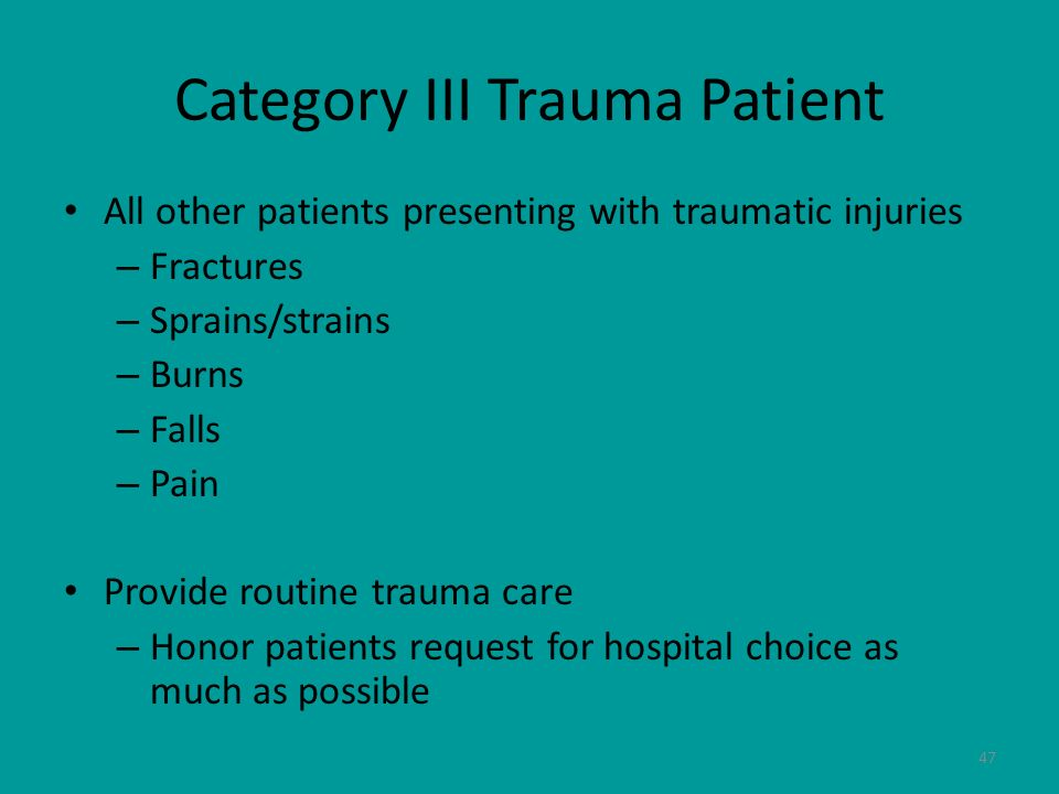 Category III Trauma Patient