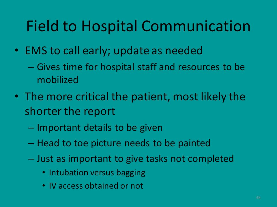 Field to Hospital Communication