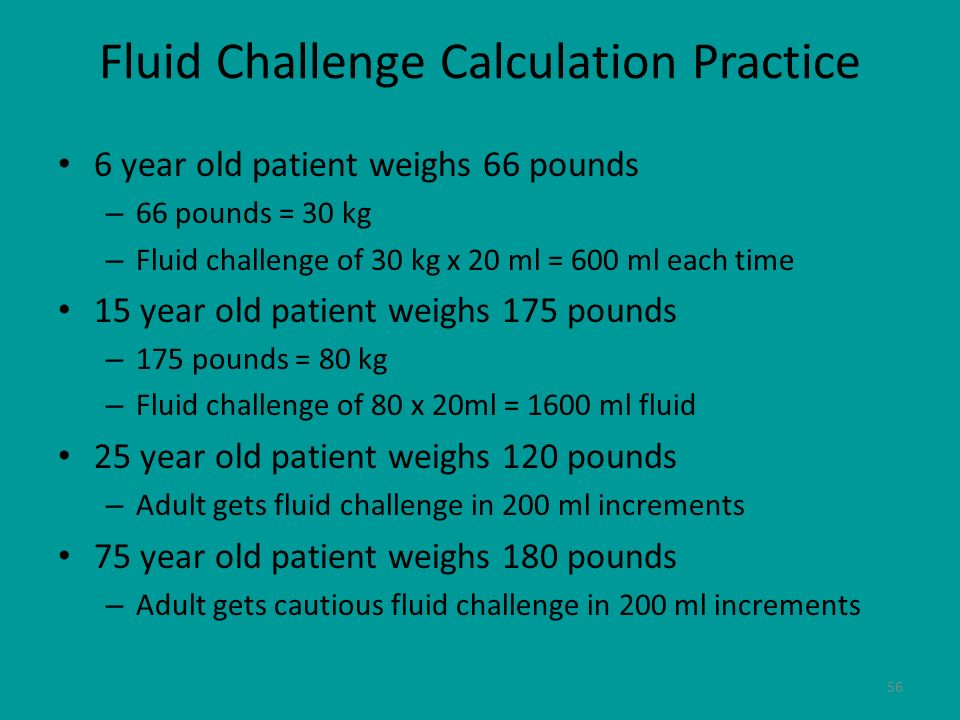 Fluid Challenge Calculation Practice