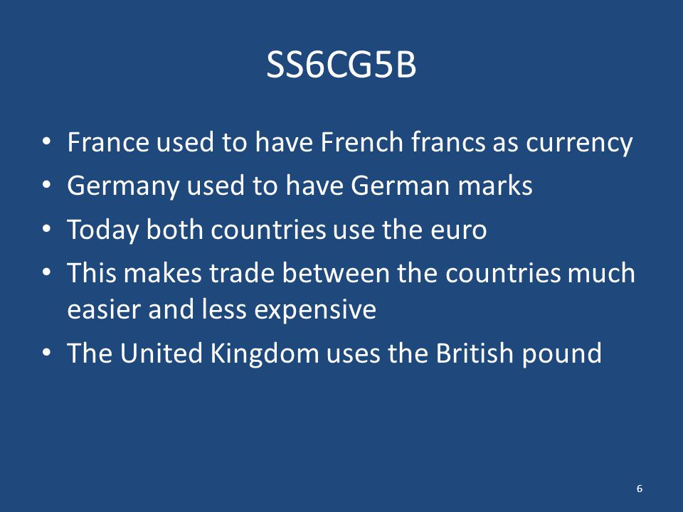SS6CG5B France used to have French francs as currency